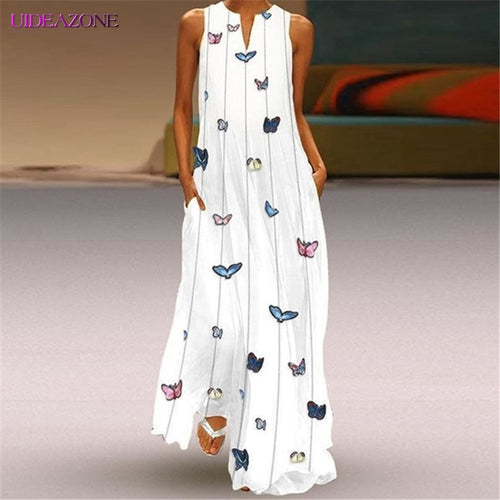 Colorful Butterfly Sleeveless Long Dress