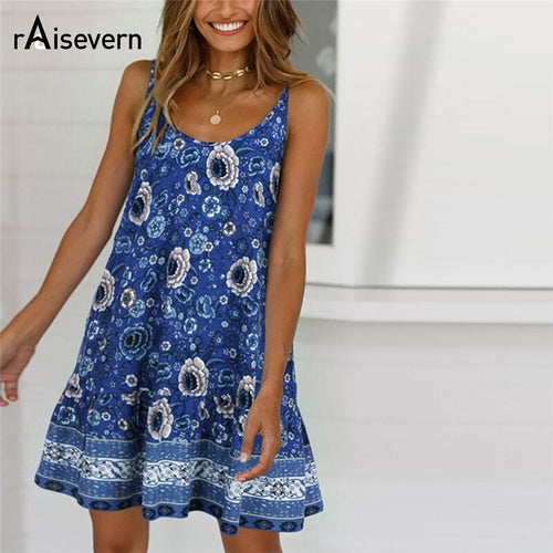 Women's Fashion Floal Lace Sleeveless Strap Beach Holiday Dress