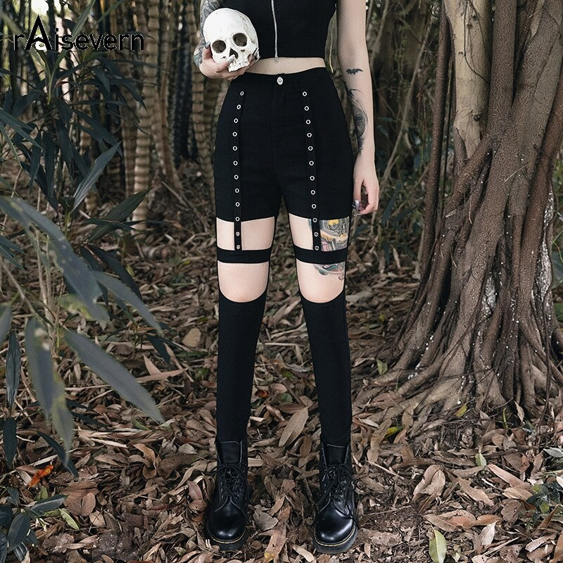 Gothic Dark Punk Style Black Halloween Dress Slim Pants