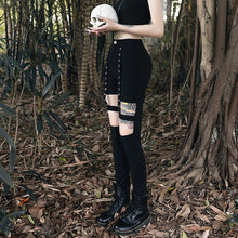 Load image into Gallery viewer, Gothic Dark Punk Style Black Halloween Dress Slim Pants