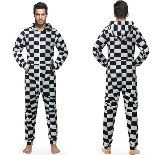 Pajamas Men Overall Hooded Male Jumpsuits With Hat