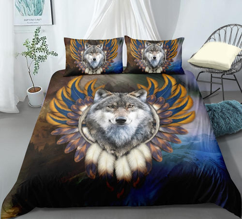 3D Printing DarkBlue Wolf Bedding Sets