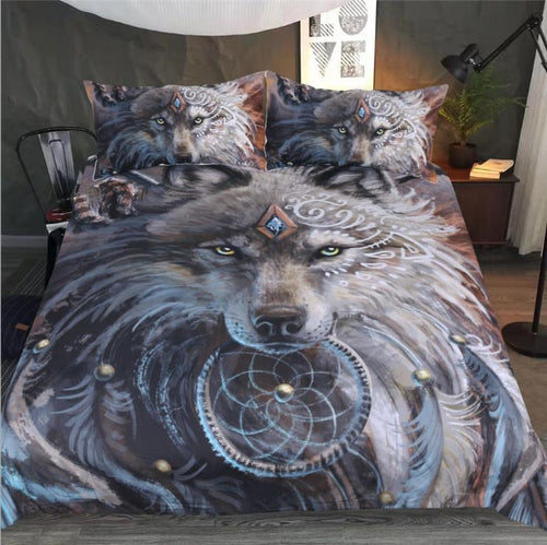 3D printed wolf head Bedding Set