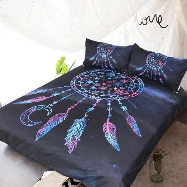 Purple Galaxy Snow Dream Catcher Bedding Set
