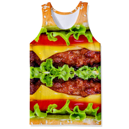 Beef Lettuce Hamburger Food 3D Men Tank Top