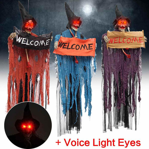 Halloween Hanging Ghost Voice Electric Skull Skeleton Ghost Welcome Sign Horror Props Haunted House Bar Decoration Escape Horror