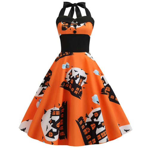 Women Halloween Sleeveless Vintage Pumpkins Dress