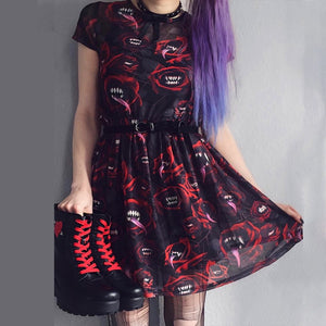 Women Halloween Mesh Sexy Gothic Punk Black Red Mini Dress