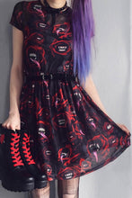 Load image into Gallery viewer, Women Halloween Mesh Sexy Gothic Punk Black Red Mini Dress