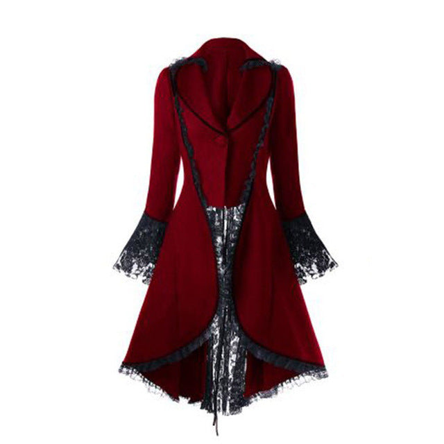 Women Gothic Halloween Dress Overcoat Lace Up Bandage Vintage long Coat