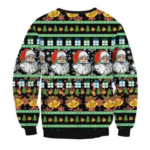 Autumn Christmas Long Sleeve Santa Claus Print Plus Velvet Loose Warm Sweatshirts