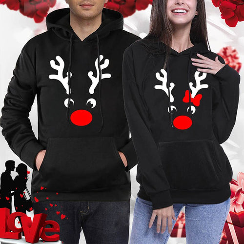 Chirstmas Couple Hoodies Pullover Women Antlers Printed Christmas Sweatshirt