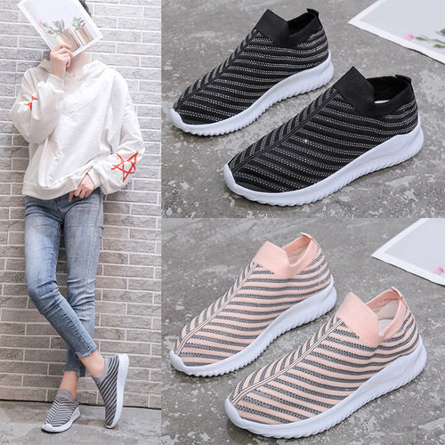 Women Sneakers Crystal Breathable Socks Vulcanized Shoes