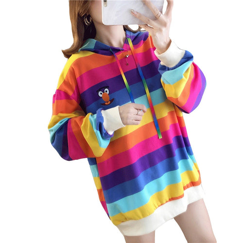 Tik Tok Hoodie Women Long Sleeve Rainbow Pullovers Sweatshirts