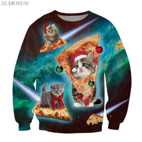Harajuku Style Cat Pizza Galaxy Christmas Crewneck Sweatshirts