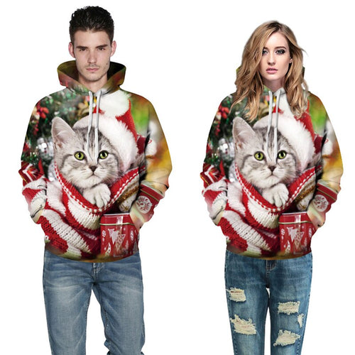 Couple Hoodies Christmas Style 3D Hoodies Men Women Sweatshirt