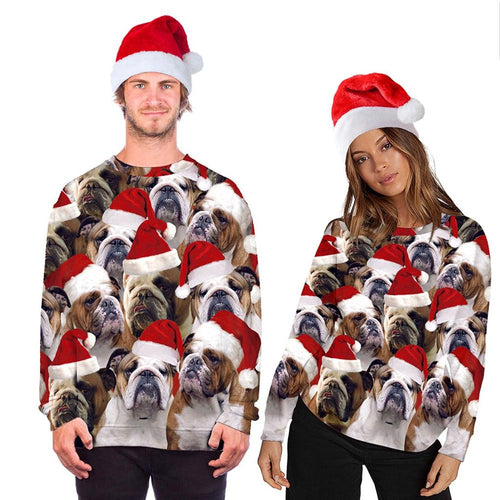 Christmas Sweatshirt Women Men Couples Dog Print Long Sleeve Pullover