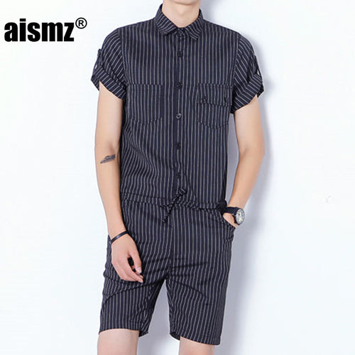 Classic Short Sleeve Male Stretch Slim Fit Overalls Romper