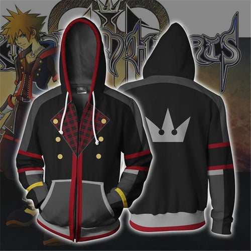Kingdom Hearts Sora Cosplay Anime 3D Printed zipper Hoodie