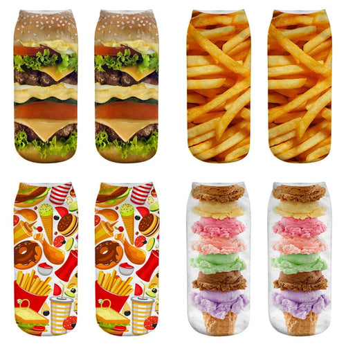 Dreamlikelin Food French Fries Hamburger Ice Cream Art Socks