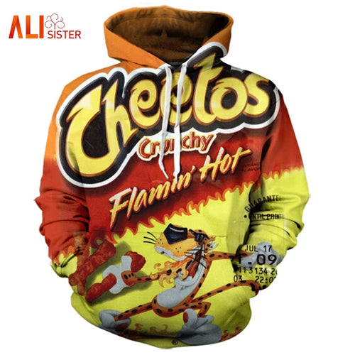 Flamin Cheetos Letter Hoody Long Sleeve PulloVer Food Casual Hoodie