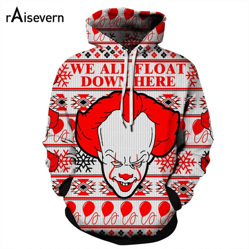 Christmas WE ALL FLOAT DOWN HERE Harajuku Funny Clown Hoodie