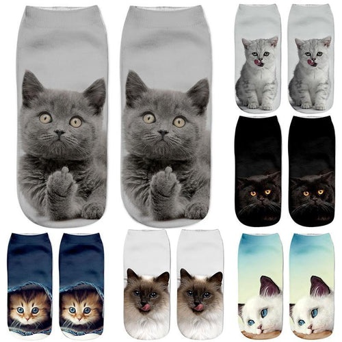 3D Cat Design Unisex Christmas Gift  Low Ankle Kids Funny Sock
