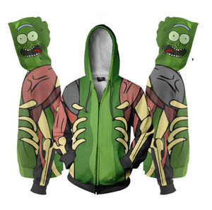 Rick and Morty Hoodie Anime Cosplay Digital Zipper Hoodie