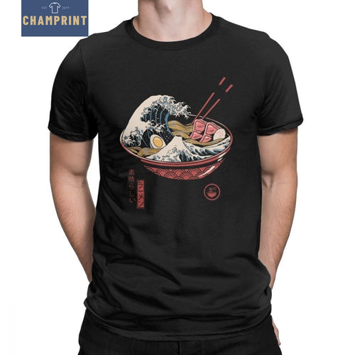 Great Ramen Wave Men's T Shirt Noodles The Great Wave Of Kanagawa Cotton Tees O Neck Japan Japanese T-Shirt Plus Size Clothes