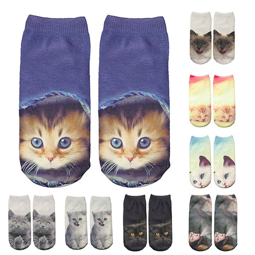 Fashion Cat Funny 3D Unisex Christmas Ankle Socks