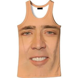Mens 3d T-shirt The Giant Blown Up Face Of Nicolas Funny t shirts