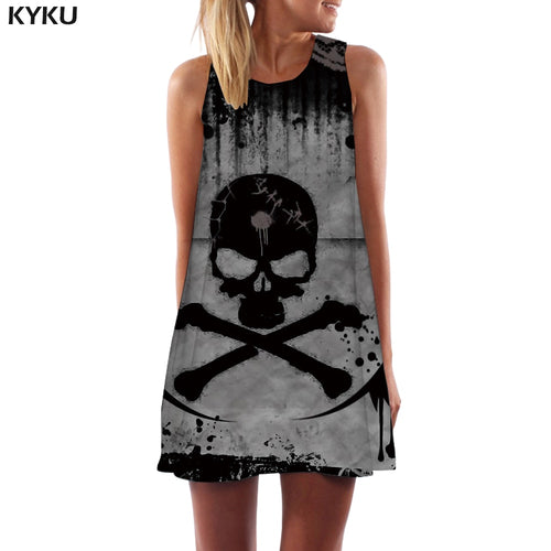 Women Skeleton Halloween Boho Gray Office Gothic Beach Sleeveless Dress