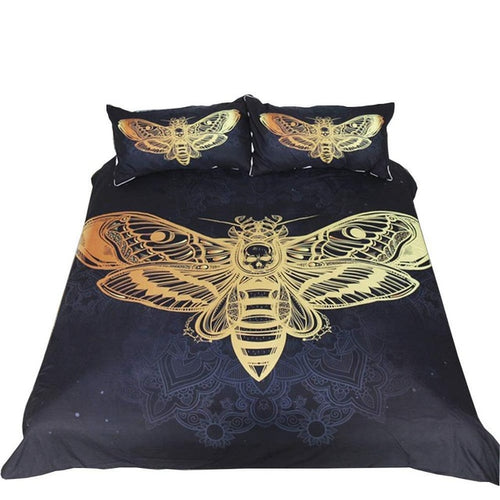 Skull Duvet Cover Set by  Dead Moth with Skull Face in Gothic Grunge Style Dark Butterfly