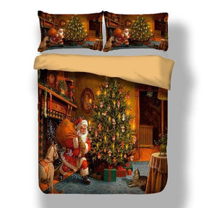 3D Santa Claus Printed Merry Christmas Bedding Set