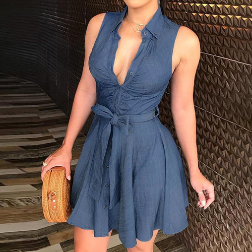 Lapel Half-Sleeve Tunic Sleeveless Dress Party Dress Beach Dress