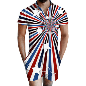 Geometric Patterns Stripe Beach Men Bro Rompers Summer Outfits