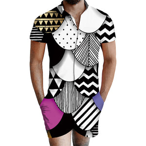 Uideazone Geometric Patterns Stripe 3D Beach Men Bro Rompers Summer Outfits