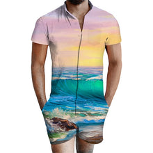 Load image into Gallery viewer, Geometric Patterns Stripe Beach Men Bro Rompers Summer Outfits