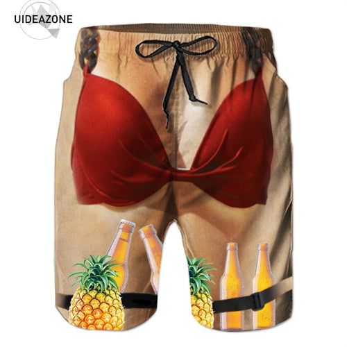Pineapple Beer Bra 3D Quick Dry Shorts Beach Casual Trunks