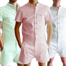 Load image into Gallery viewer, Uideazone Summer Cotton Short Sleeve Men's Rompers