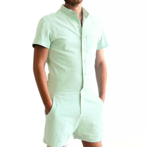 Uideazone Summer Cotton Short Sleeve Men's Rompers