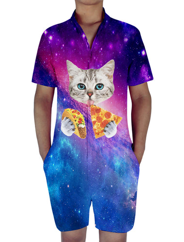 3D Print Pizza Cat Mens Romper