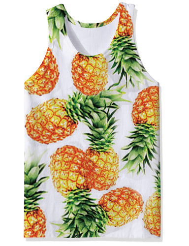 Uideazone Pineapple White Vest Undershirt Tank Tops