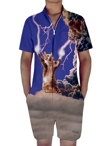 3D Print Lightning Cat Mens Romper