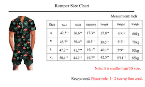 Uideazone Unisex Printed Hawaiian Flamingo Knee Length Romper