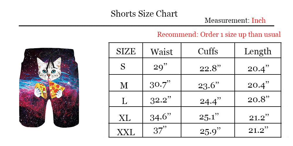fb9a33db6d Uideazone Taco Pizza Cat Swimming Trunks Casual Style Swim Shorts