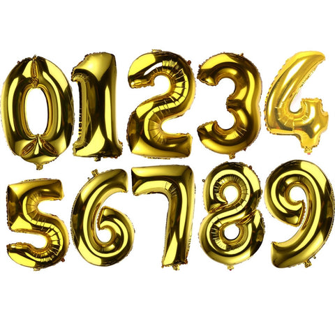 32 inch Thickened Helium Foil Balloons Birthday Number Balloons for Wedding Anniversary Decoration (Gold) - Maeko Designs