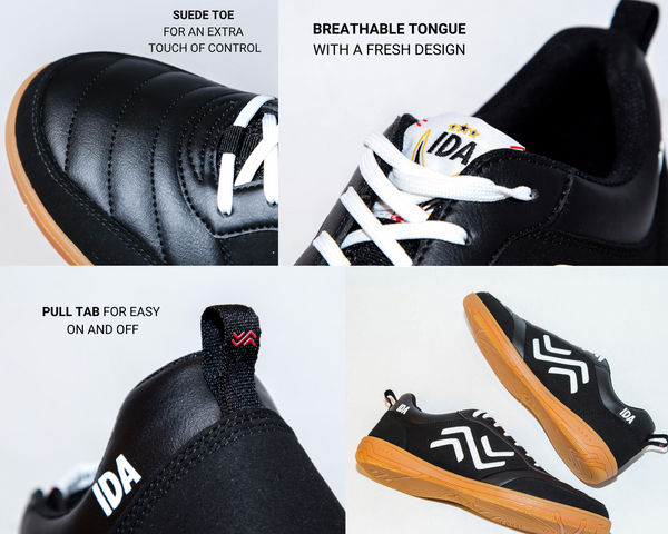 indoor shoe features suede toe for extra touch of control, breathable tongue with fresh design, pull tab for easy on and off