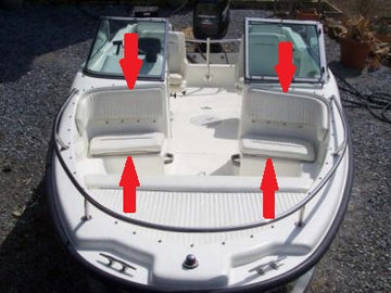 BOSTON WHALER 17' DAUNTLESS DUAL CONSOLE FRONT PASSENGER SEAT/BACKREST CUSHIONS (BRIGHT WHITE)
