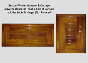 BOSTON WHALER MONTAUK TEAK CONSOLE DOORS - LOUVERED - ALSO FITS CLASSIC OUTRAGE
